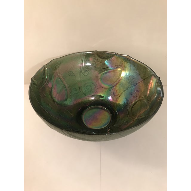 Fenton Art Glass Company Vintage Multi-Color Green Carnival Glass Serving Bowl For Sale - Image 4 of 5