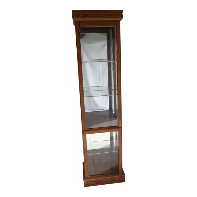 Rectangular Wood & Glass Curio Cabinet For Sale