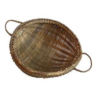 Vintage Round Bottom Handled Basket For Sale