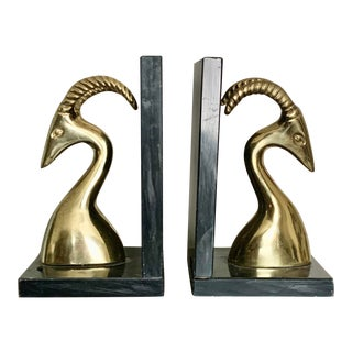 Mid Century Aires Brass and Marble Bookends - a Pair For Sale