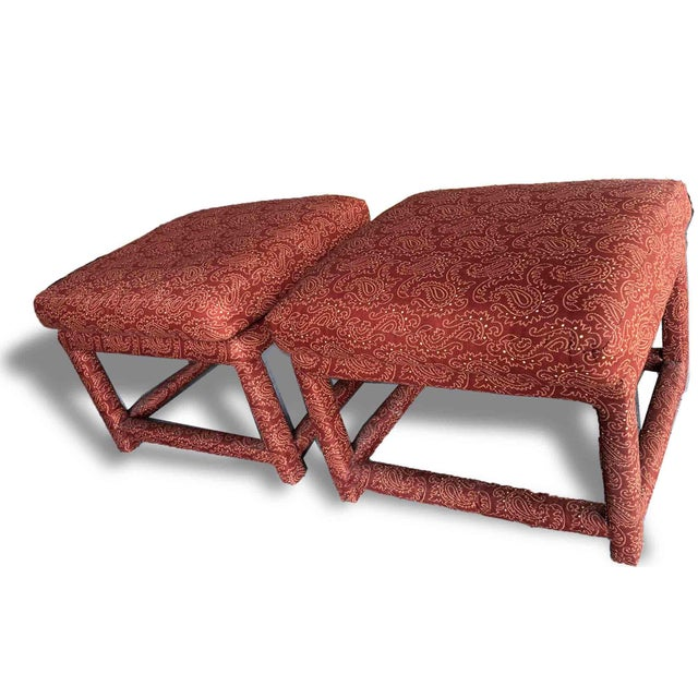 Classic Milo Baughman for Thayer Coggin. Simple and sophisticated pair of stools for nestling under a console or sofa...