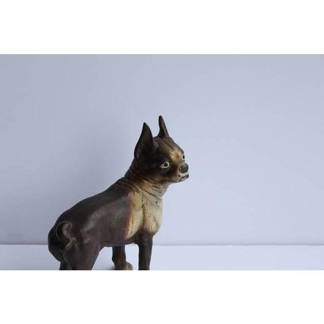 Antique Cast Iron Boston Terrier Dog Doorstop For Sale - Image 4 of 5