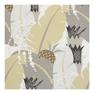 Schumacher X Paul Poiret AnanasWallpaper in Neutral For Sale