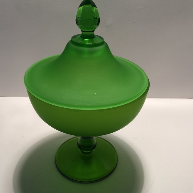 1940's Vintage Green Westmorland Green Glass Candy Dish For Sale - Image 5 of 11