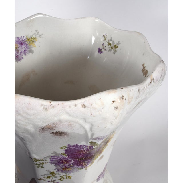 White Tall English Porcelain Umbrella Stand / Cane Holder For Sale - Image 8 of 10