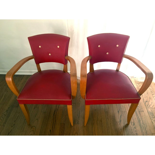 1940s 1940s Vintage French Art Deco Bridge Accent / Armchairs- a Pair For Sale - Image 5 of 9