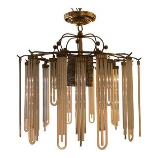 Brass Chandelier With Vintage Italian Glass Pendants For Sale