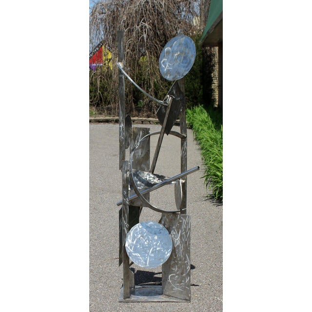 Abstract Contemporary Modern Tall Stainless Steel Abstract Outdoor Floor Sculpture Signed For Sale - Image 3 of 8