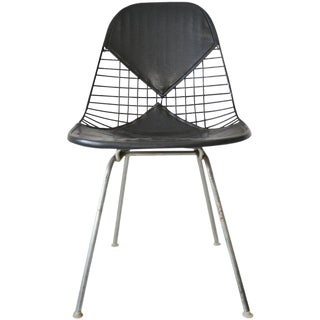 Eames Dkx-2 Vintage Wire Chair With Leather Bikini Cover For Sale