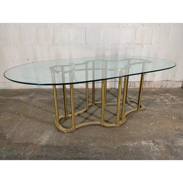 Mastercraft Racetrack Brass Pedestal Dining Table For Sale - Image 6 of 6