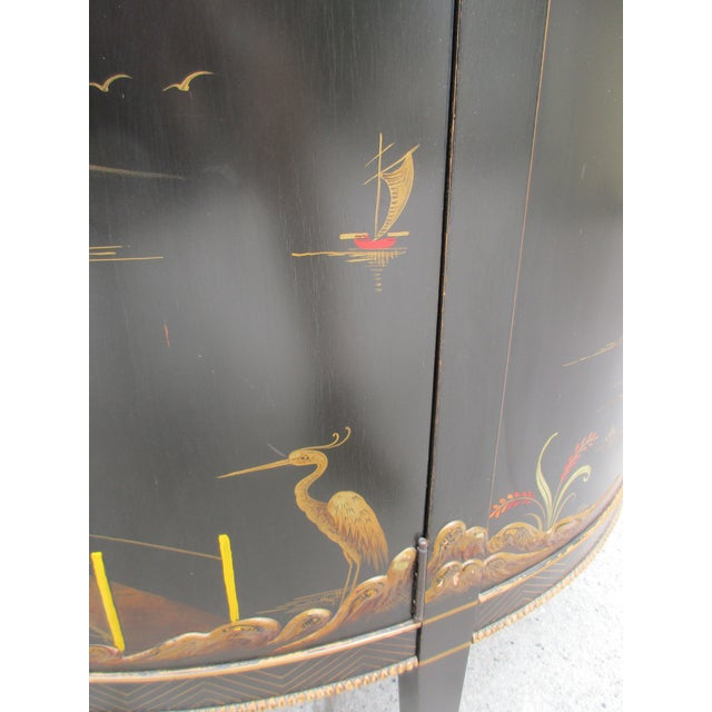 Brass 20th Century Chinoiserie Black Lacquered Demi-Lune Commode or Cabinet For Sale - Image 7 of 11