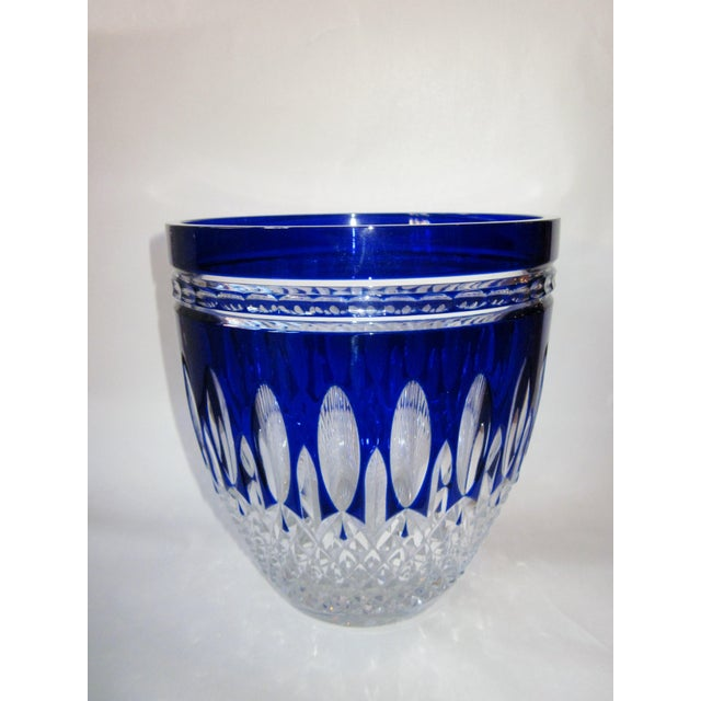This is a dazzling vintage Waterford cased crystal vessel, in the retired Clarendon Cobalt cut to clear pattern, which...