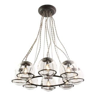 "Schoolhouse Electric ""Orbit 8"" Black Canopy & Twisted Cloth Cord Chandelier For Sale"