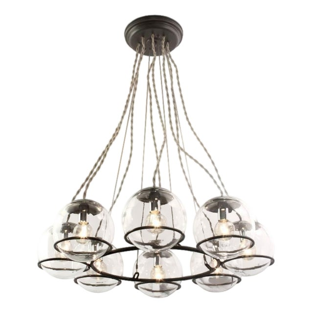 """Schoolhouse Electric """"Orbit 8"""" Black Canopy & Twisted Cloth Cord Chandelier For Sale"""