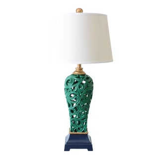 Green Gold Navy Asian Pierced Ginger Jar Table Lamp With Shade For Sale