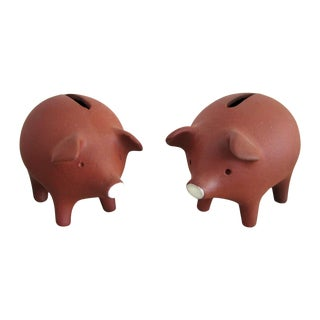 Danish Pottery Piggy Banks - A Pair