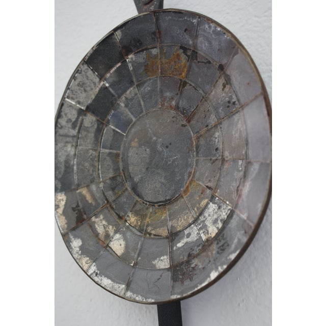 Mexican Handmade Iron Mirrored Reflector Candle Sconce - Image 4 of 10