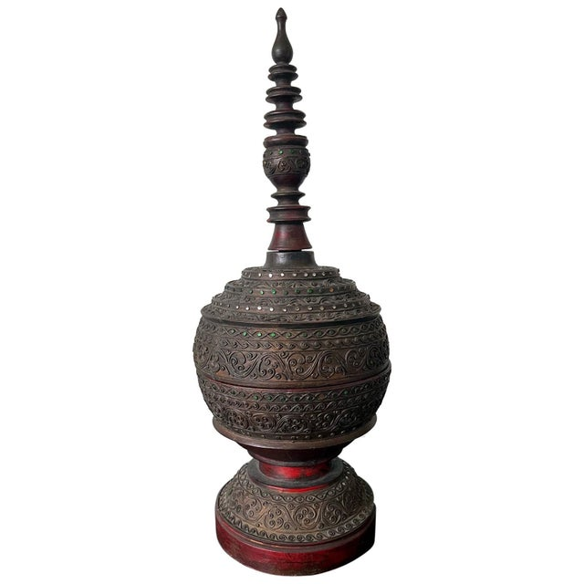 Antique Lacquered Wood Offering Vessel, Thailand For Sale - Image 12 of 12