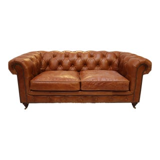 Restored Vintage Cigar Brown Leather Chesterfield Club 3-Seat Sofa For Sale