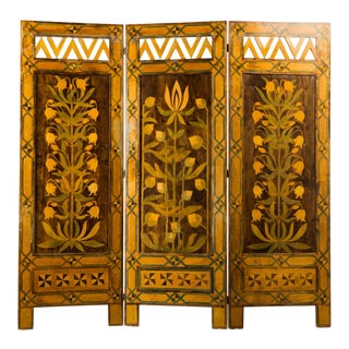 Late 19th Century Vintage Swedish Painted Wood Screen For Sale