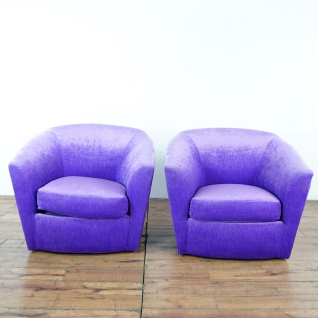 Purple Upholstered Chairs- A Pair For Sale - Image 9 of 9