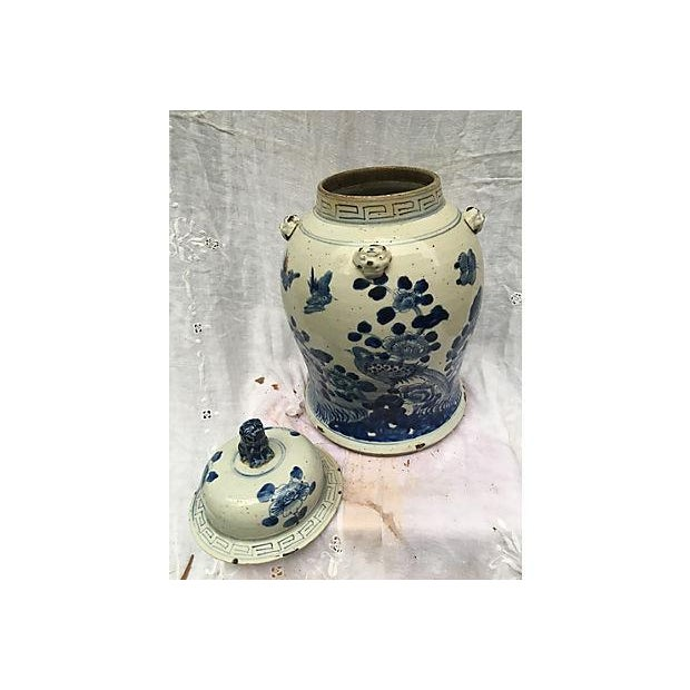 Blue & White Ginger Jar With Foo Dog Lid - Image 8 of 8