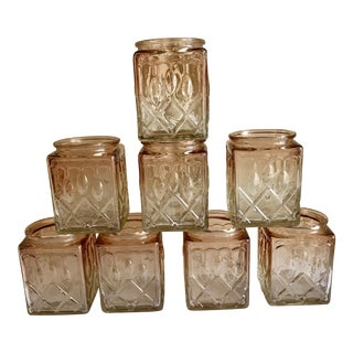 Champagne Pink Glass Candle Jars - Set of 8 For Sale