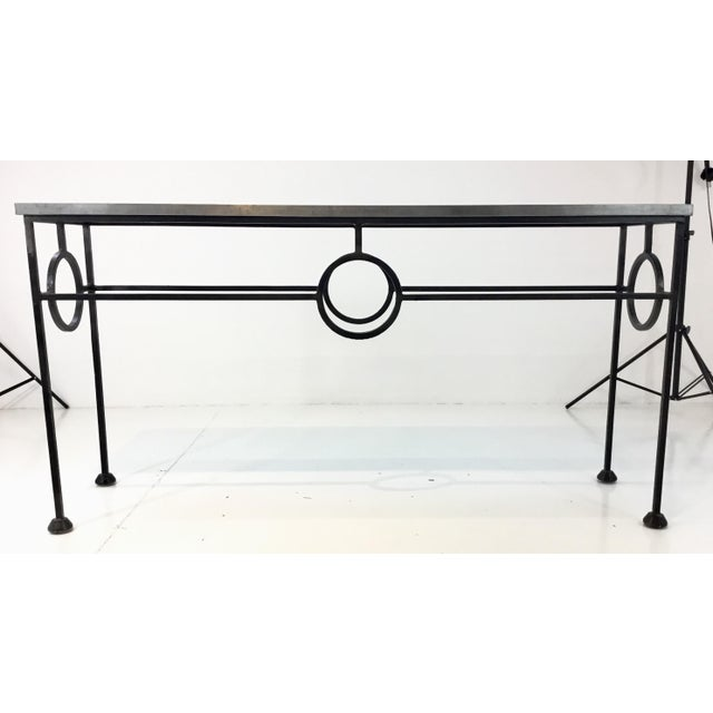 2010s Industrial Modern Arteriors Westerly Iron and Metal Console Table For Sale - Image 5 of 5