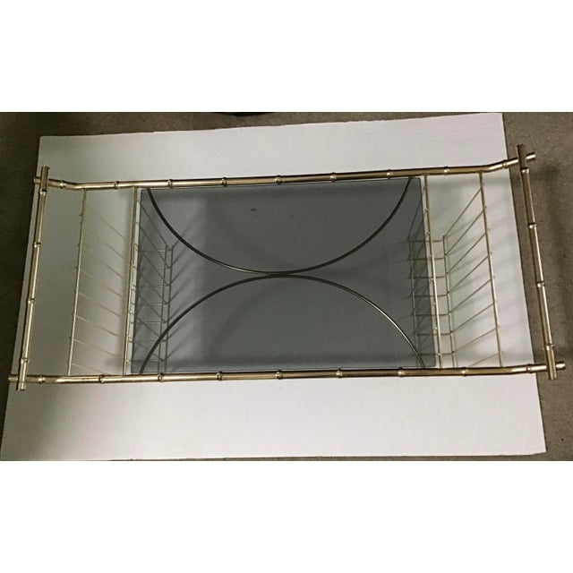 Mid-Century Faux Bamboo Brass Bed Tray Magazine Rack For Sale In Cleveland - Image 6 of 9