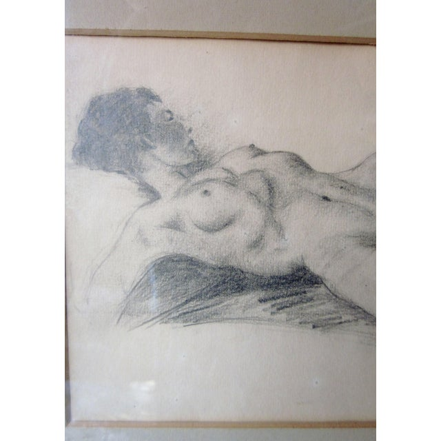 Vintage 1930s Art Deco Nude Portrait Life Figure Pencil Drawing Signed and Framed For Sale In Chicago - Image 6 of 11