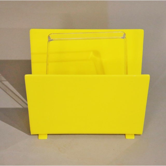 1970s Mid-Century Yellow Lucite Magazine Rack For Sale - Image 4 of 5