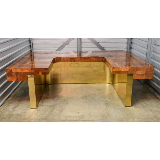 Heavily discounted. Beautiful and extremely rare brass and burl wood Directional desk by Paul Evans, Cityscape series,...