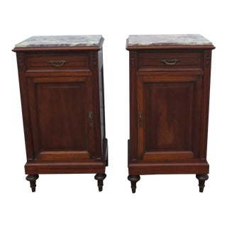 French Early 1900s Marble Top Tall Pair of Nightstands Side End Tables 1424 For Sale