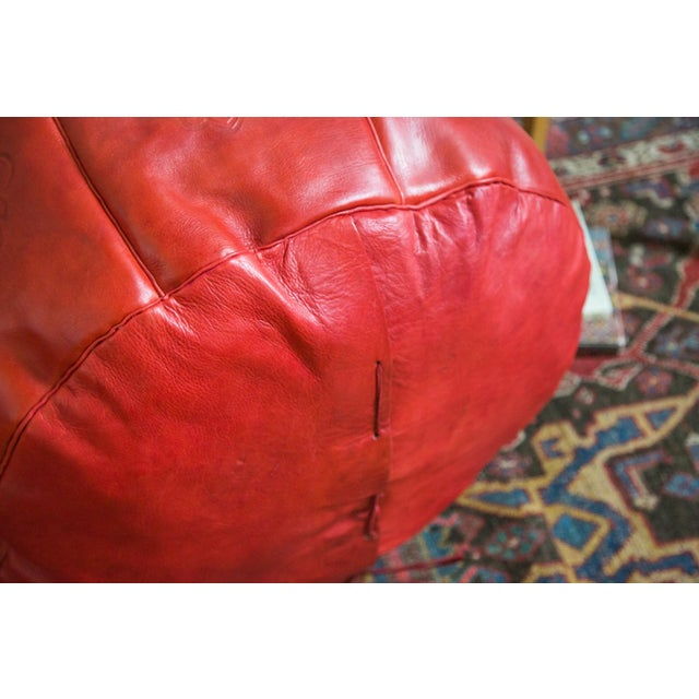 Antique Revival Cranberry Red Leather Pouf Ottoman - Image 7 of 8