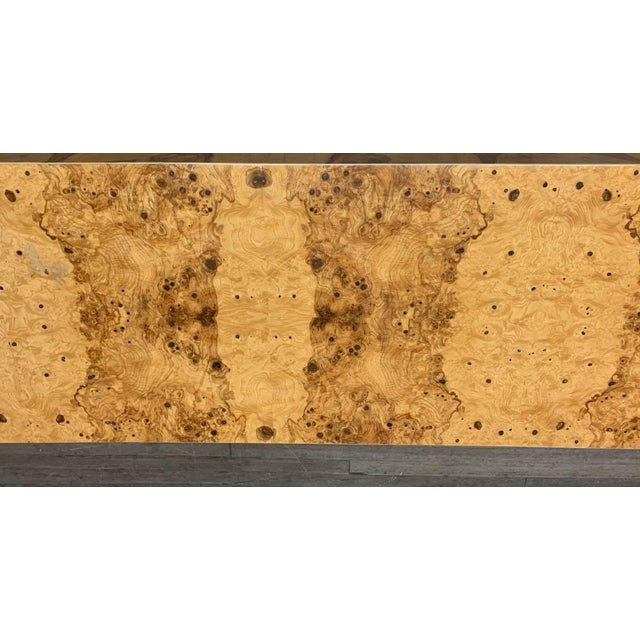Boho Chic Mid Century Burl Wood Baughman Parsons Console Table For Sale - Image 3 of 9