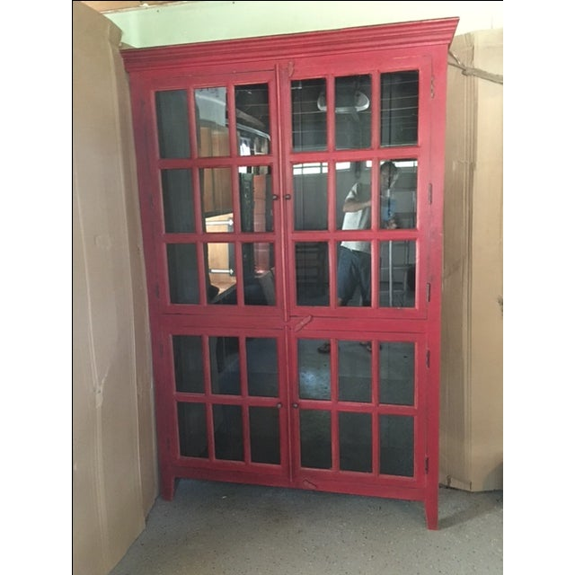 Wooden Red China Cabinet - Image 2 of 5