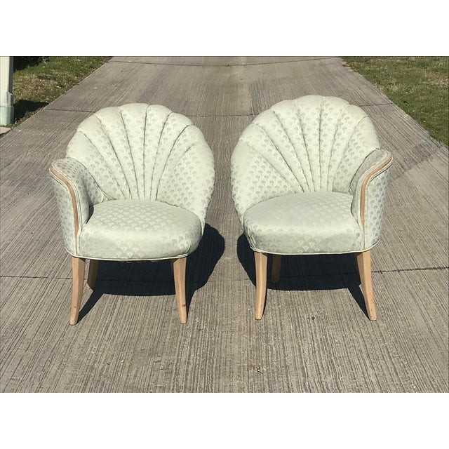 1920's Vintage Art Deco Shell Back Boudoir Chairs- A Pair For Sale - Image 9 of 9
