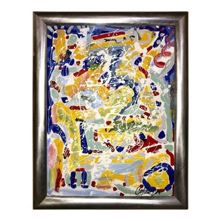 Abstract Oil on Canvas Painting by Colow B. Dated 1984 For Sale