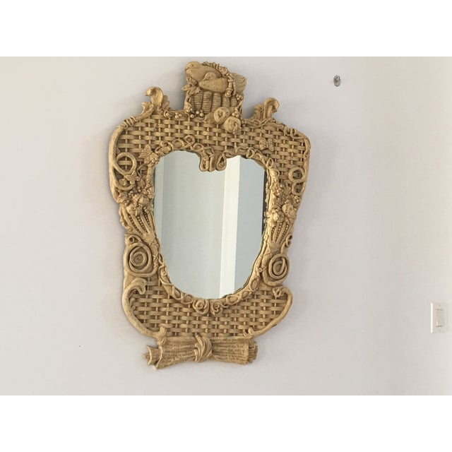 Mid-Century Basketweave Mirror For Sale In Miami - Image 6 of 6