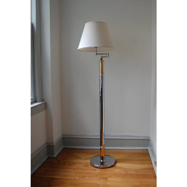 1970s Chrome and Brass Column Floor Lamp For Sale - Image 4 of 11
