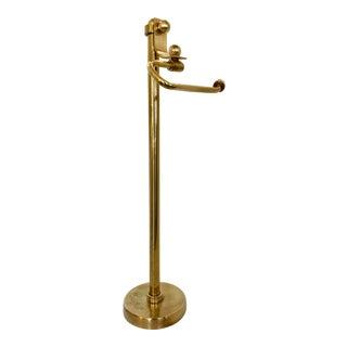 Vintage Solid Brass Bath Roll Holder For Sale