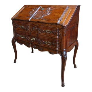 Antique French Carved Oak Secretary Desk For Sale