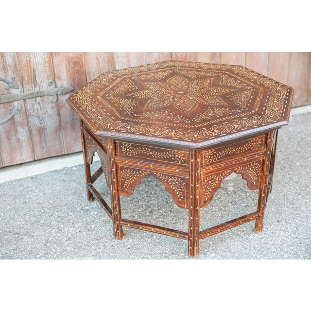 Large Octagonal Bone Inlay Floral Table For Sale - Image 4 of 9