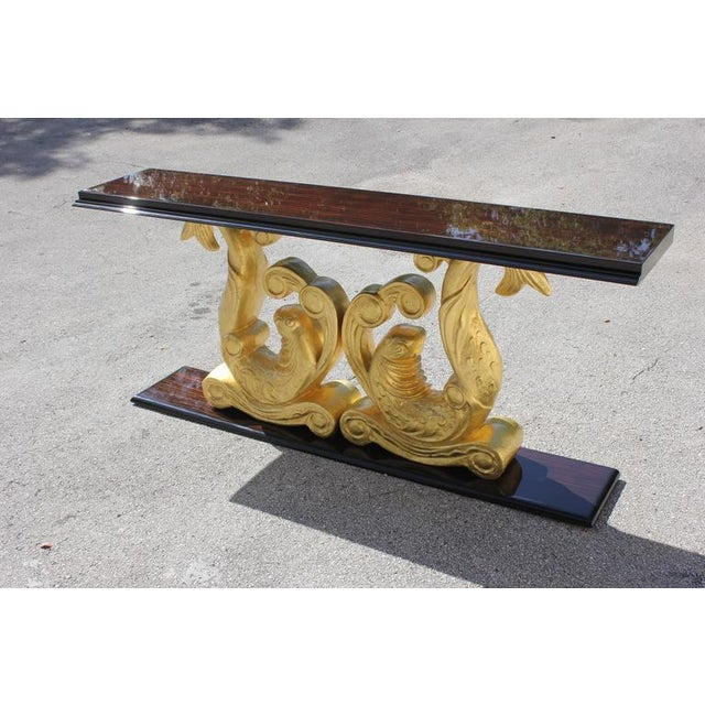 1930s French Art Deco Macassar Ebony Giltwood Console Table For Sale In Miami - Image 6 of 12