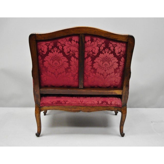 Antique French Country Louis XV Style Walnut Burgundy Small Wingback Settee For Sale - Image 10 of 13