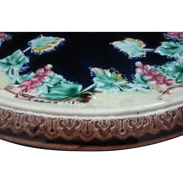 Majolica Antique 19th C. Majolica Gothic Grapevine Platter For Sale - Image 4 of 6