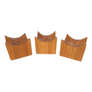 Mid 20th Century Cube Teak Candle Holders With Peaked Corners - Set of 3 For Sale