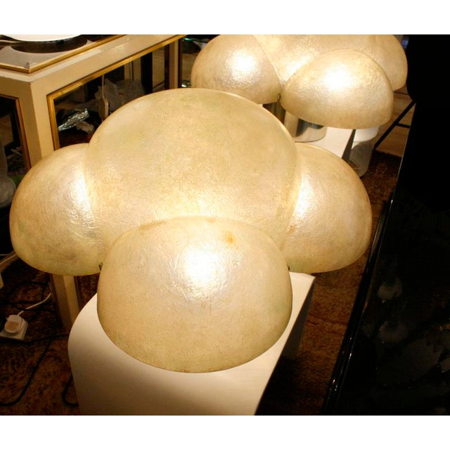 Pair of table lamps by Gianemilio Piero & Anna Monti, shade made of Fiber glass with a chromed brass base. five light on a...