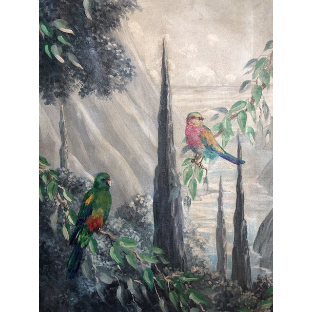 Canvas Italian Birds in the Forest Watercolor Painted Panels - Set of 2 For Sale - Image 7 of 13