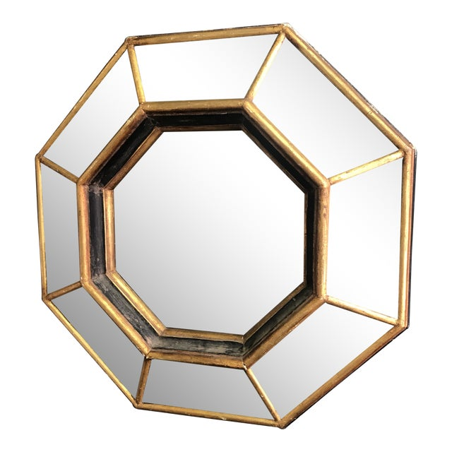 Vintage Octagonal Faceted Mirror For Sale